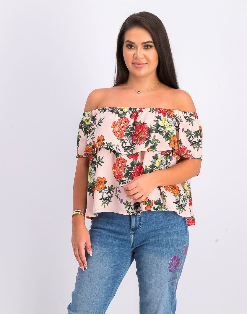 Women's Floral Print Blouse, Pink Combo