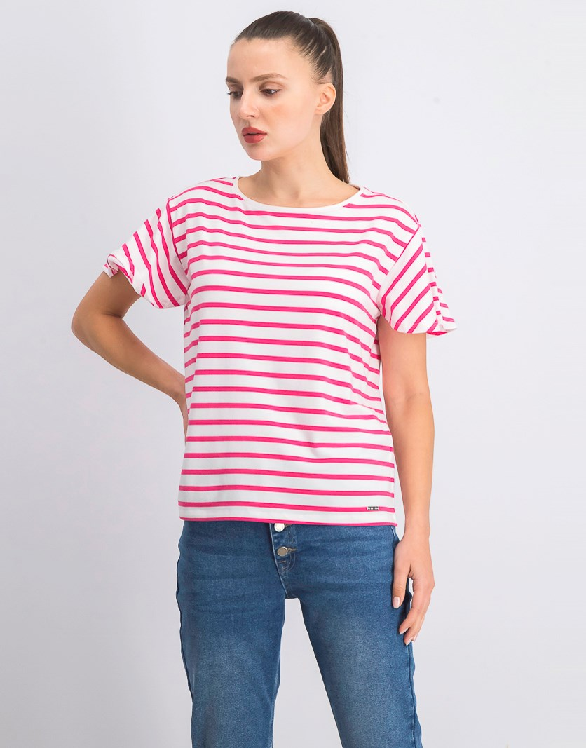 Women's Stripe T-Shirt, Pink/White