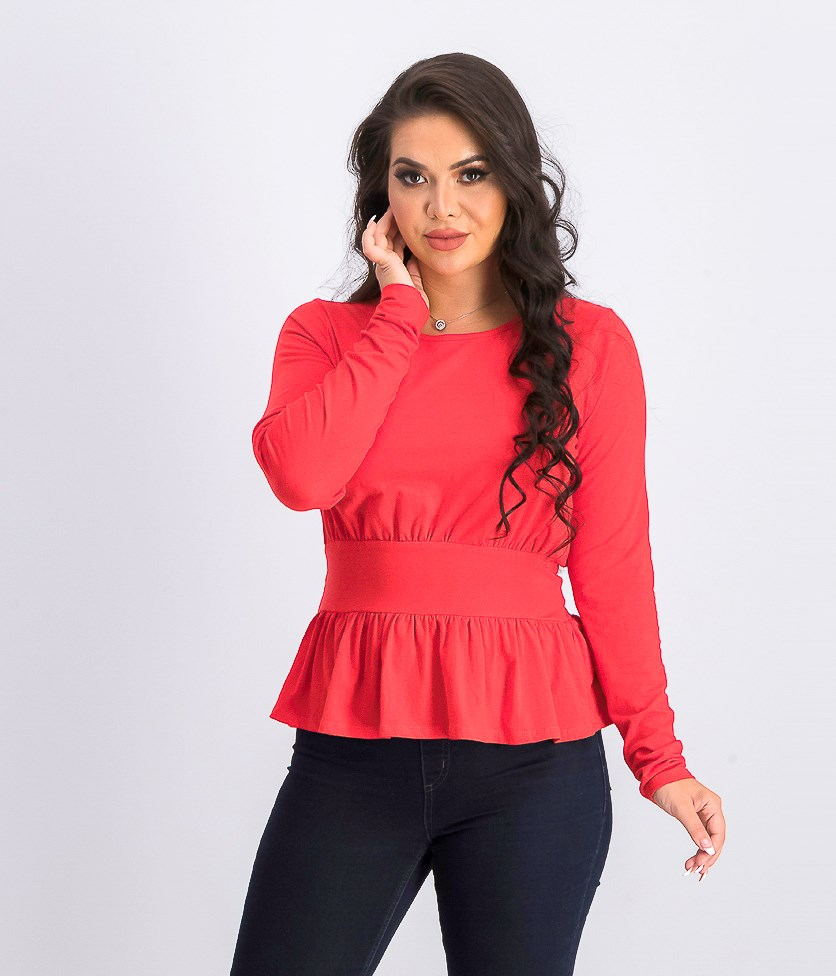 Women's Ruffle Hem Top, Red