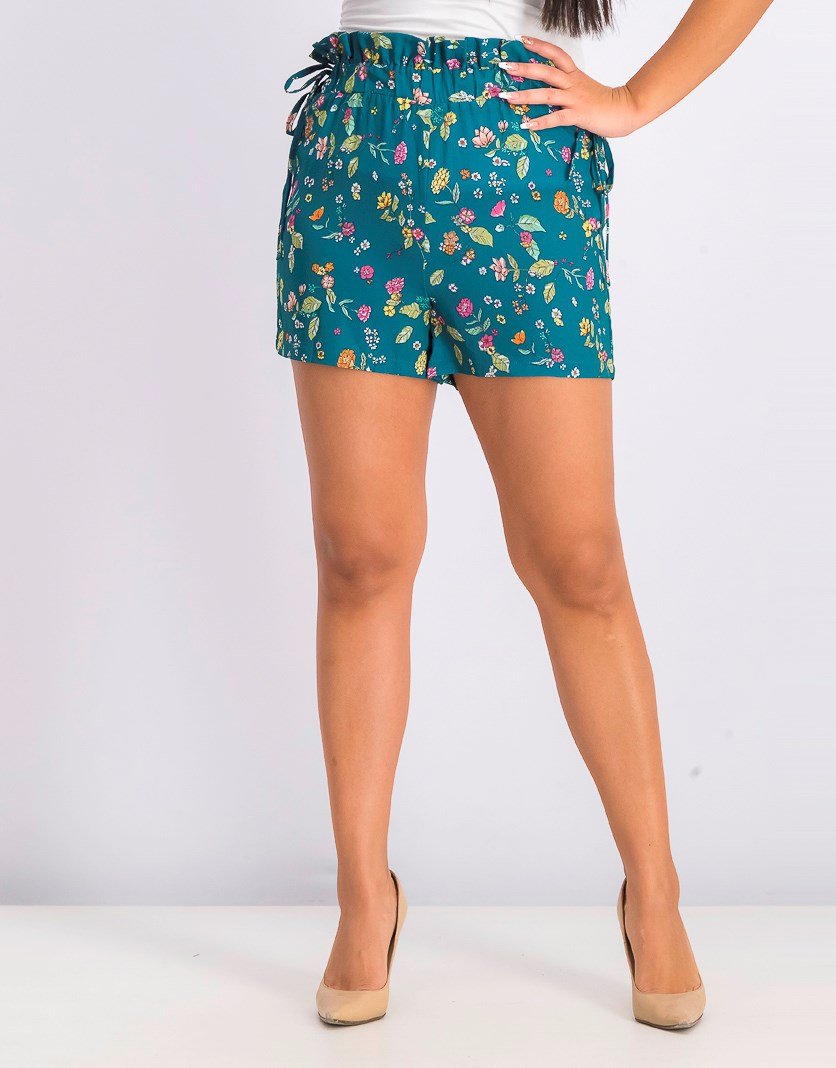 Women's Floral Print Shorts, Green Combo