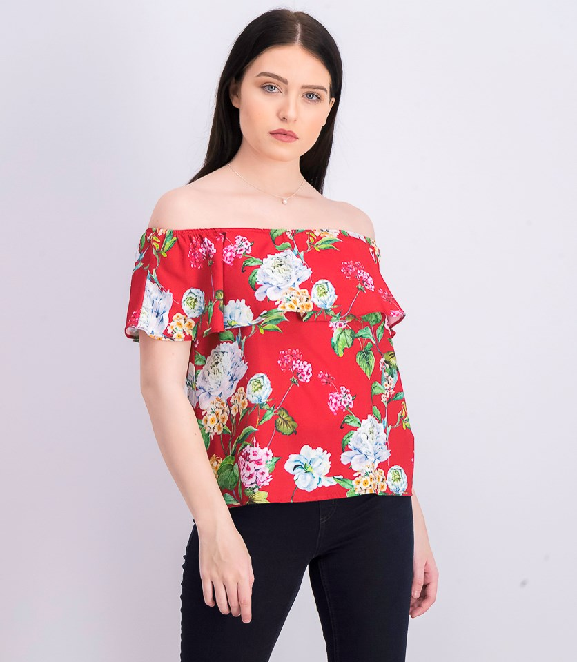 Women's Floral Off Shoulder Blouse, Red
