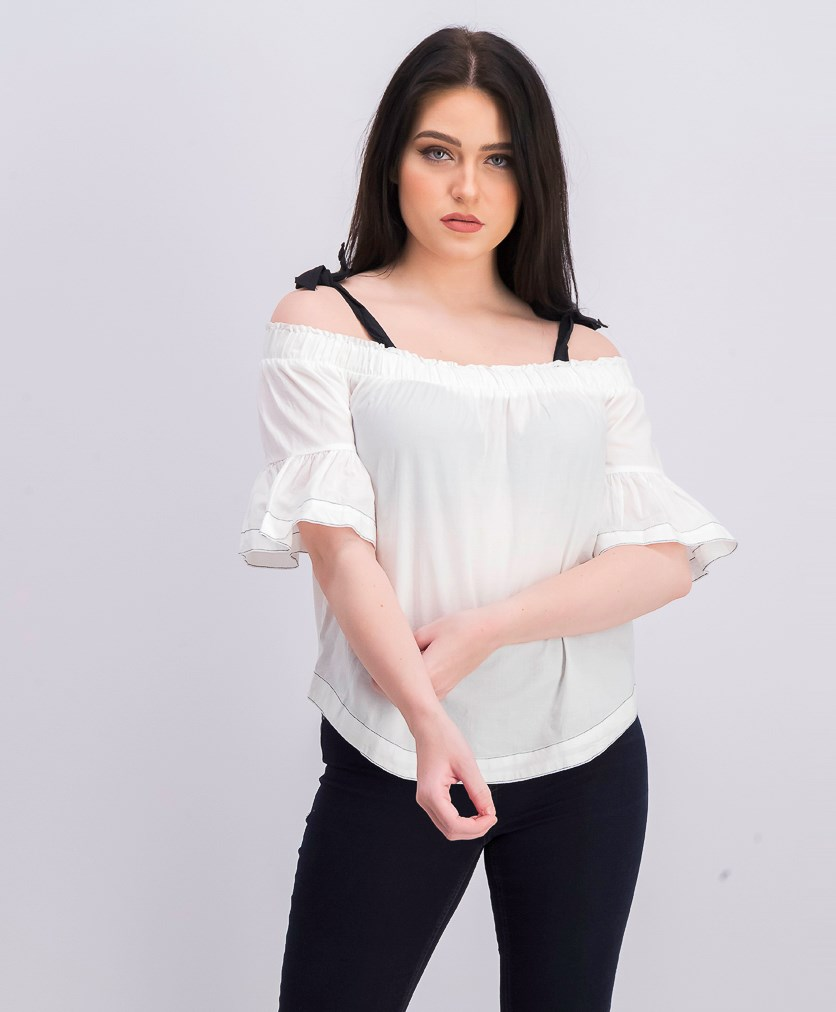 Womens Bell Sleeve Tops, White