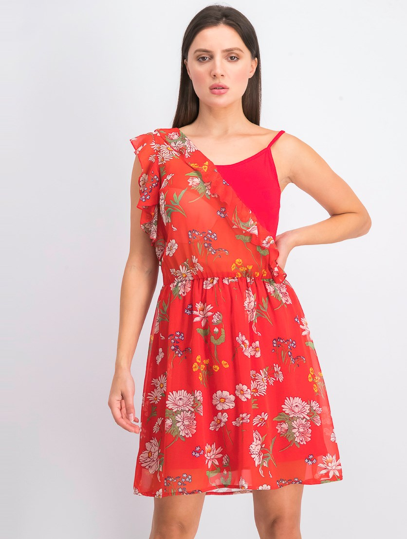 Women's One Shoulder Floral Dress, Red