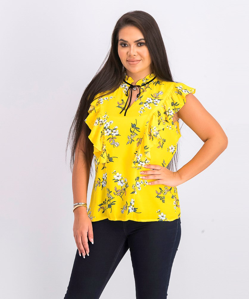 Women's Floral Top, Yellow Combo