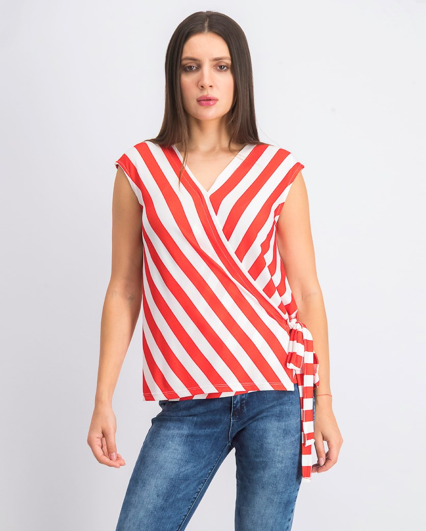 Womens Stripe Top, Red/White
