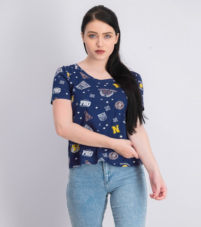 Women's Pullover Printed Tops, Navy Blue