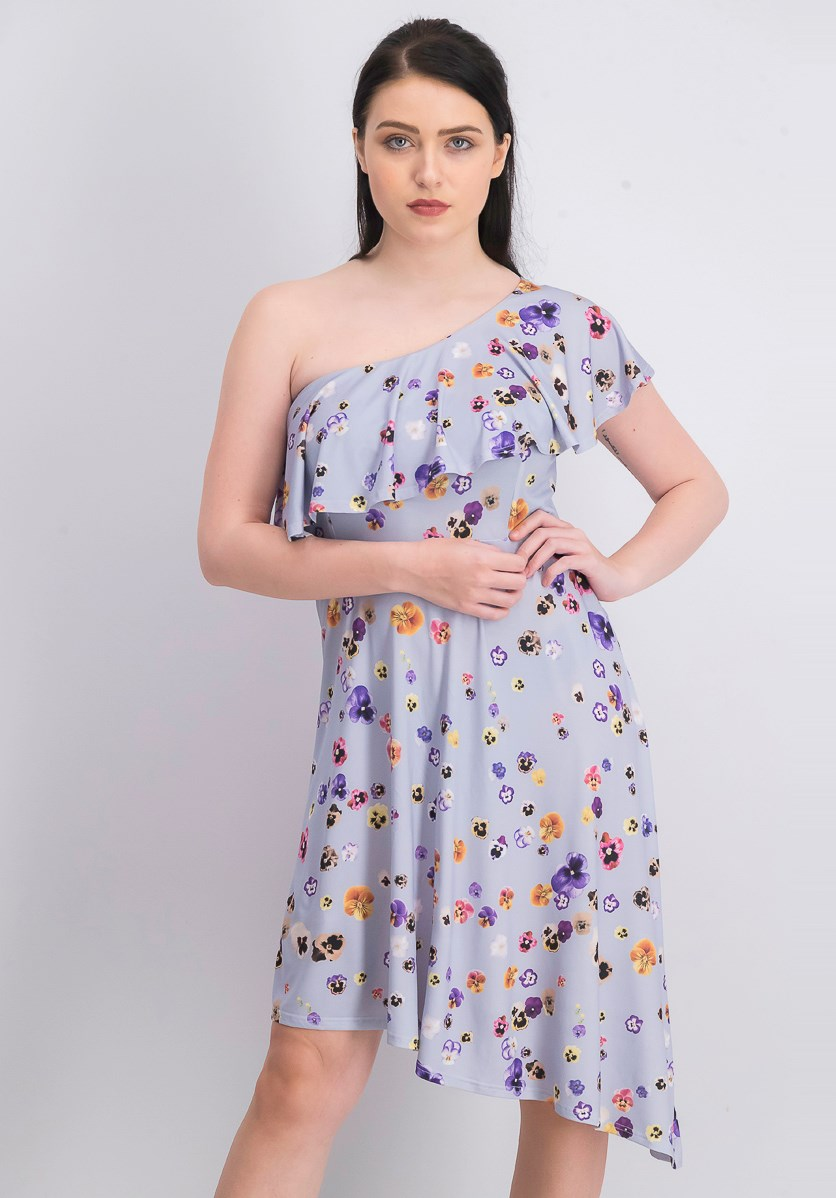 Women's One Shoulder Floral Dress, Purple Combo