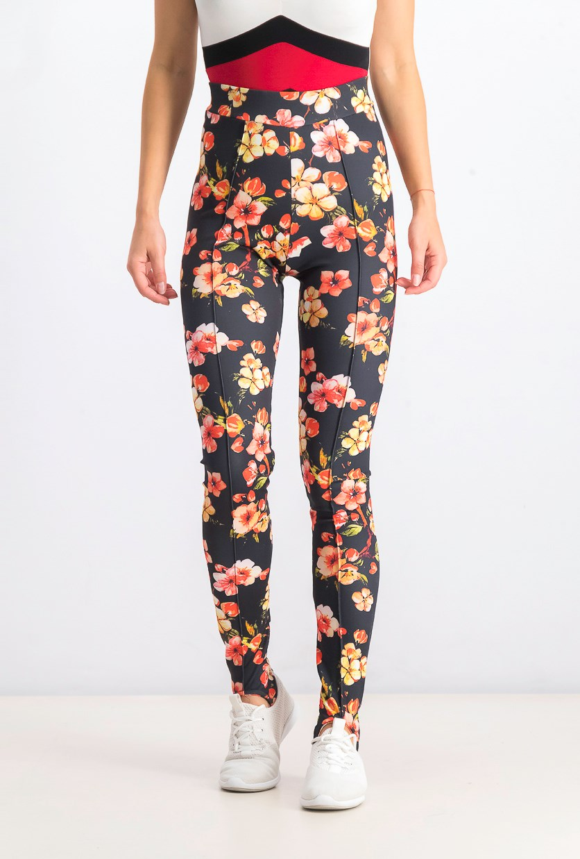 Women's Floral Leggings, Black Combo