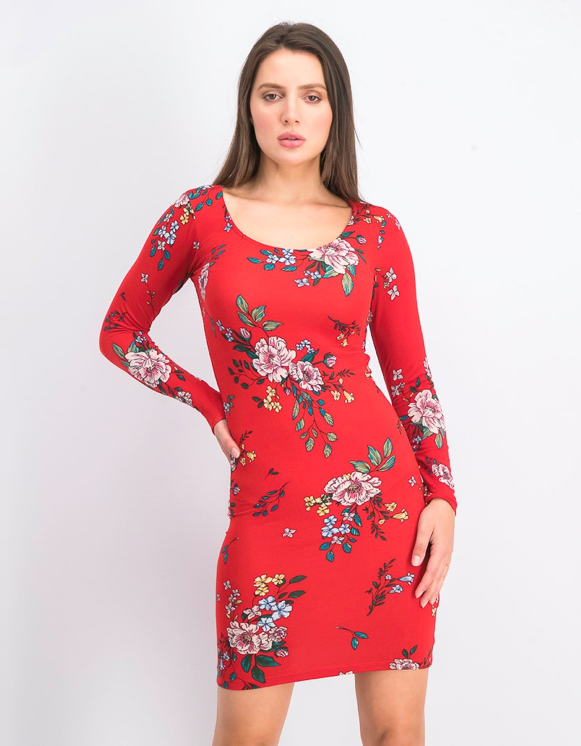 Women's Floral Print Dress, Red Combo
