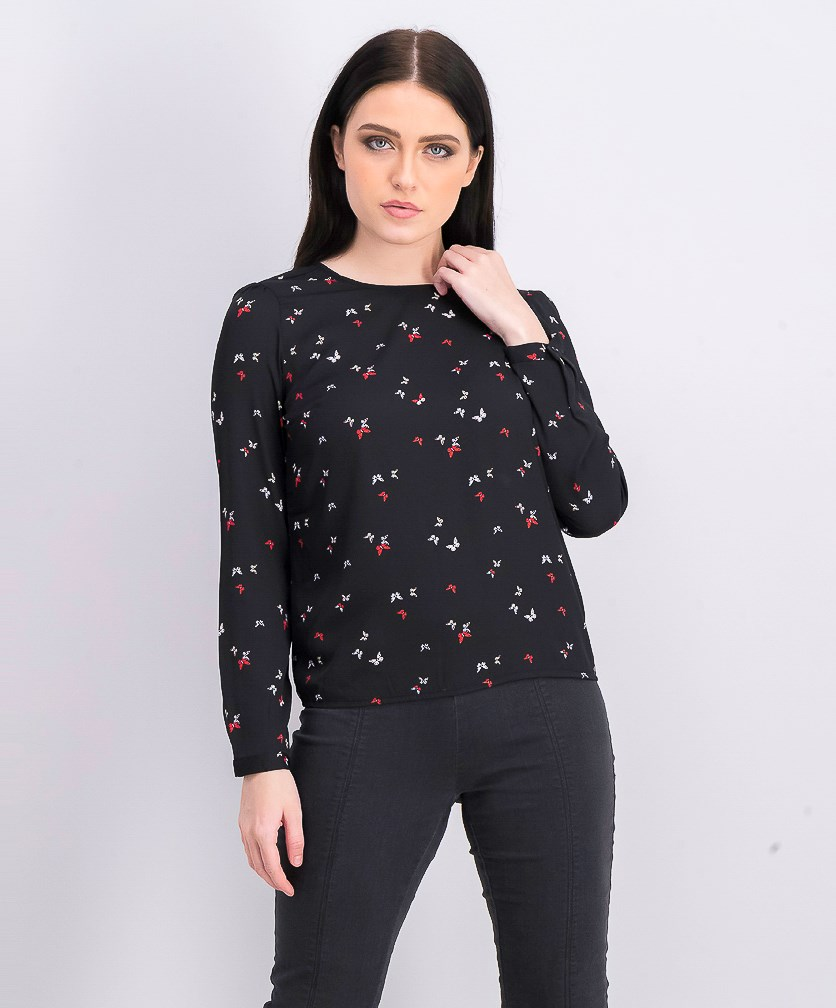 Women's Long Sleeve Pullover Top, Black