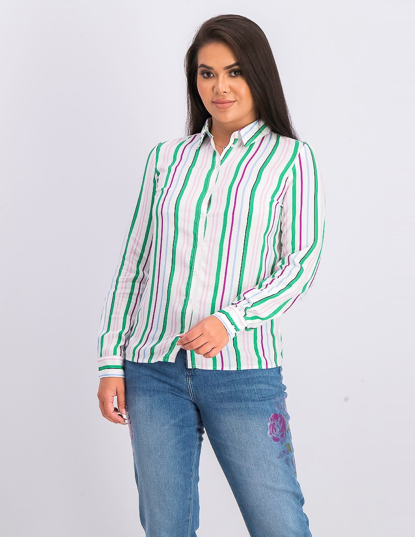 Women's Long Sleeve Striped Blouse, White Combo
