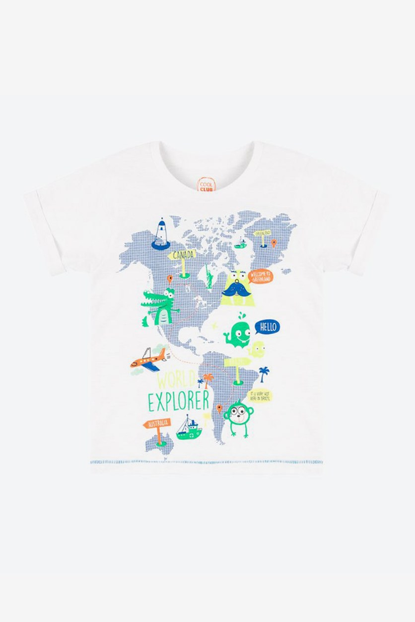 Baby Girl's World Map Printed T-Shirt, White