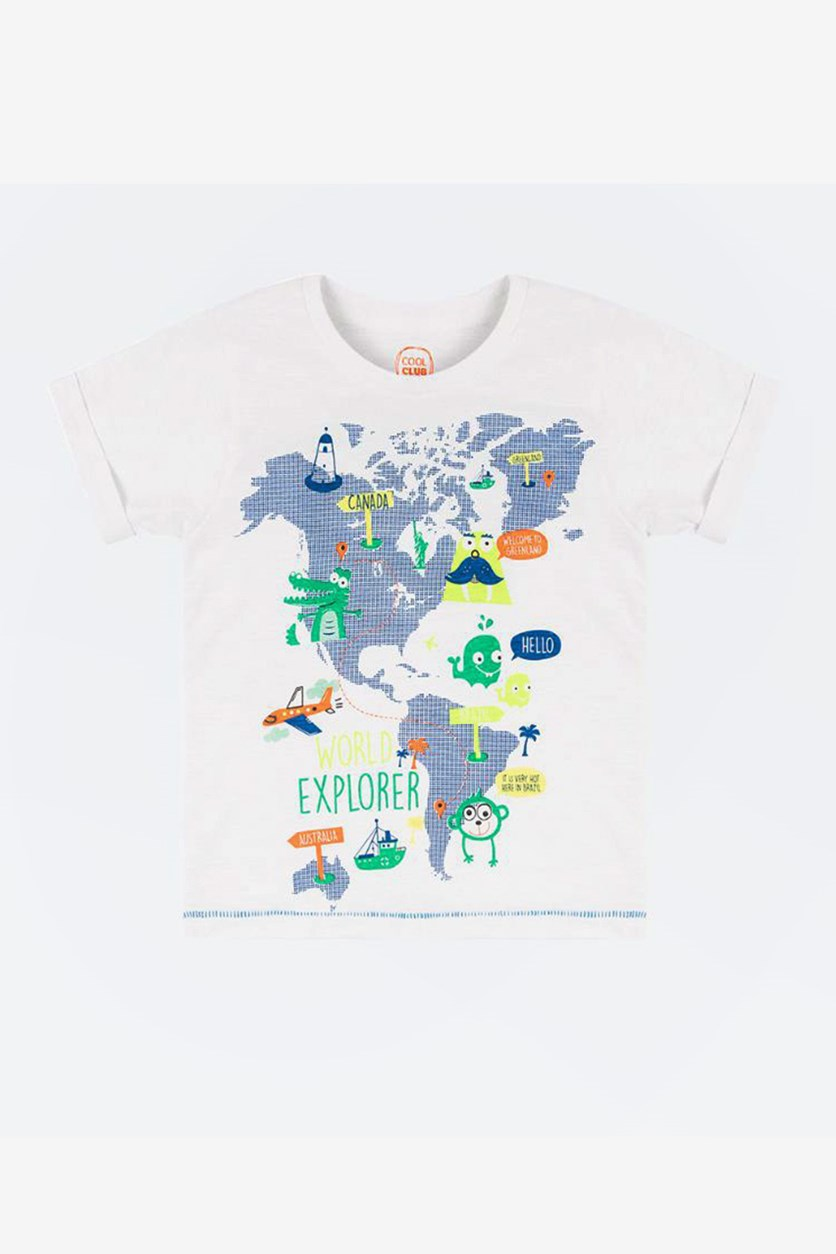 KId's Girl World Map Printed T-Shirt, White
