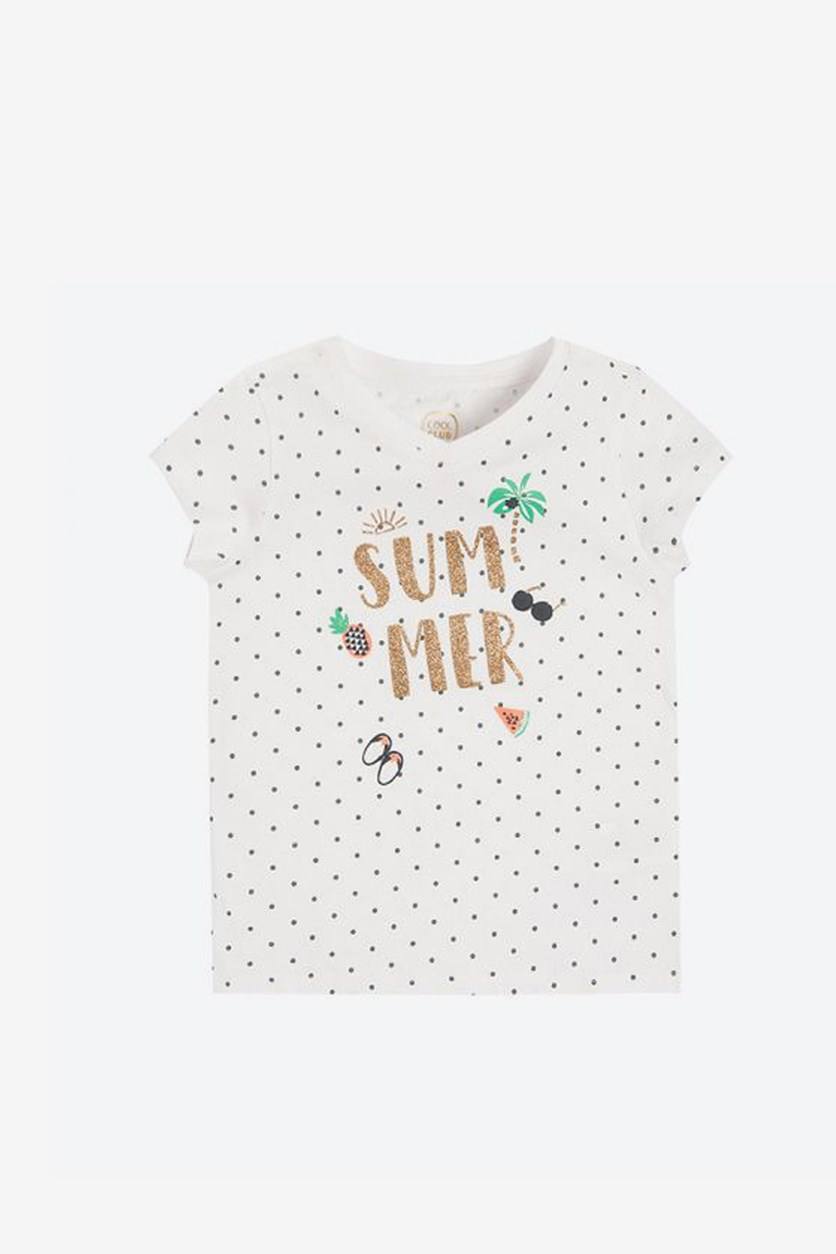 Kid's Girl Summer Graphic Tops, White