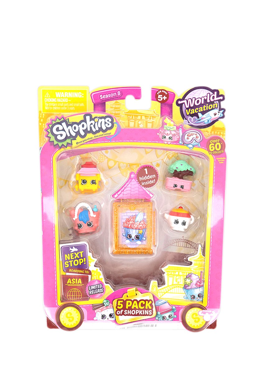 5 Pack Shopkins World Vacation Collectibles, Orange/Pink