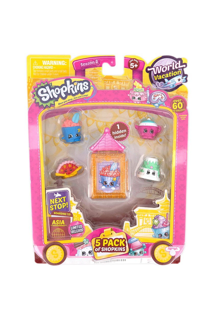 5 Pack Shopkins World Vacation Collectibles, Orange/Blue/White