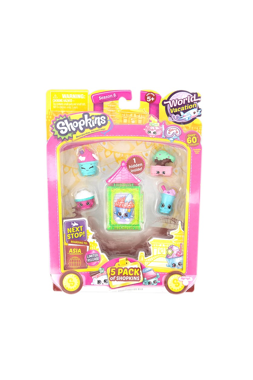 5 Pack Shopkins World Vacation Collectibles, Green/Pink