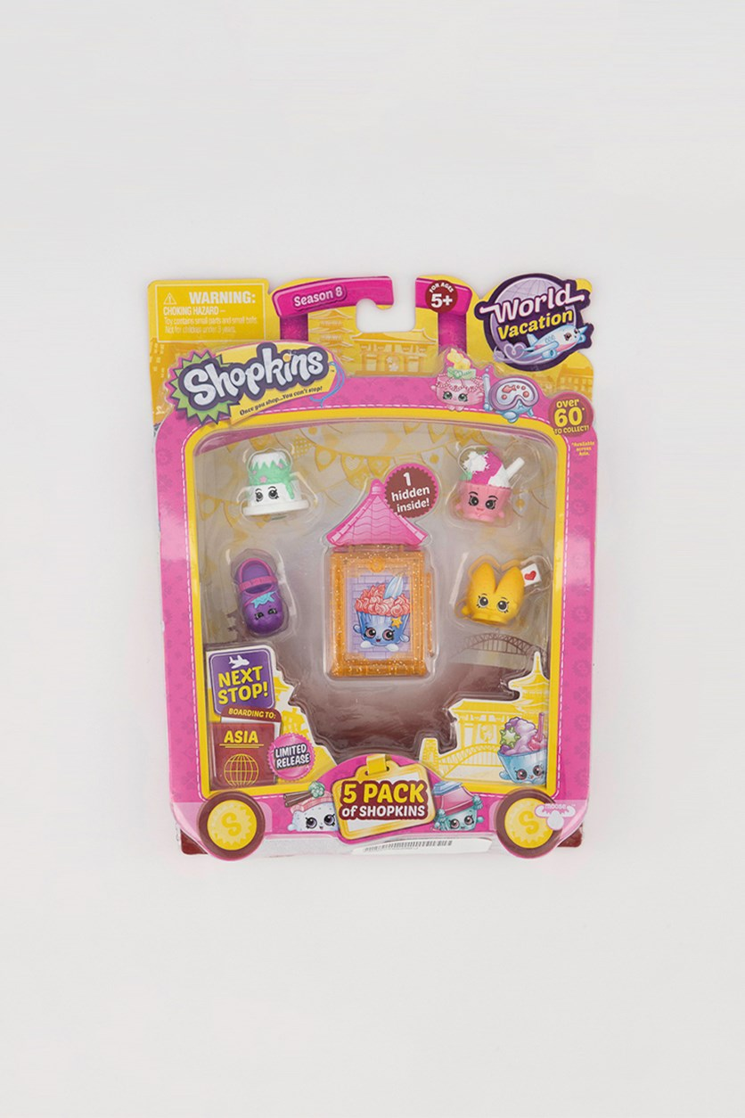 5 Pack Shopkins World Vacation Collectibles, Orange/White/Pink