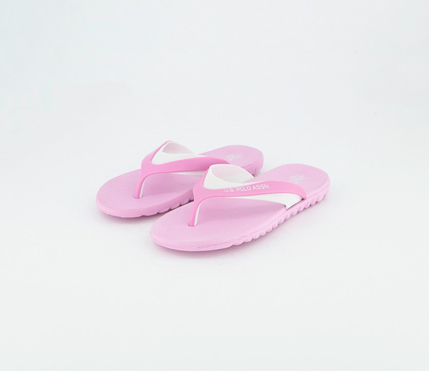 Kids Girls Slip On Slippers, Pink/White
