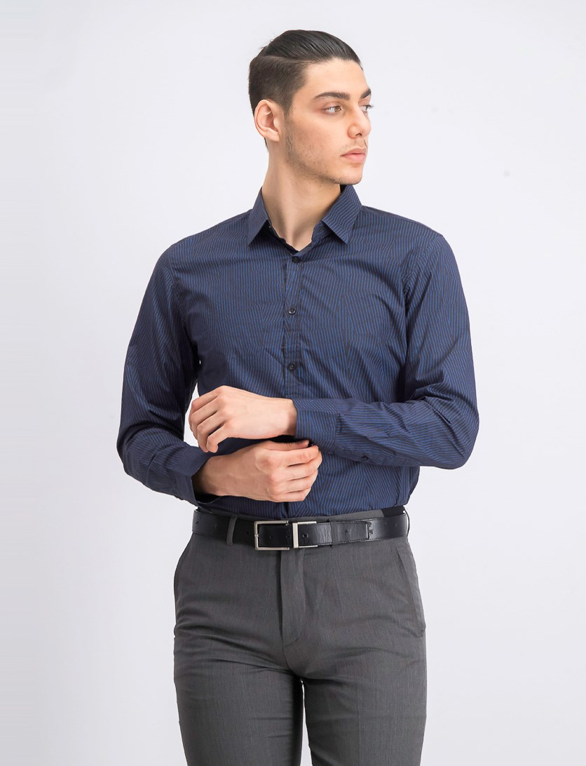 Men's Stripe Casual Shirt, Blue/Charcoal