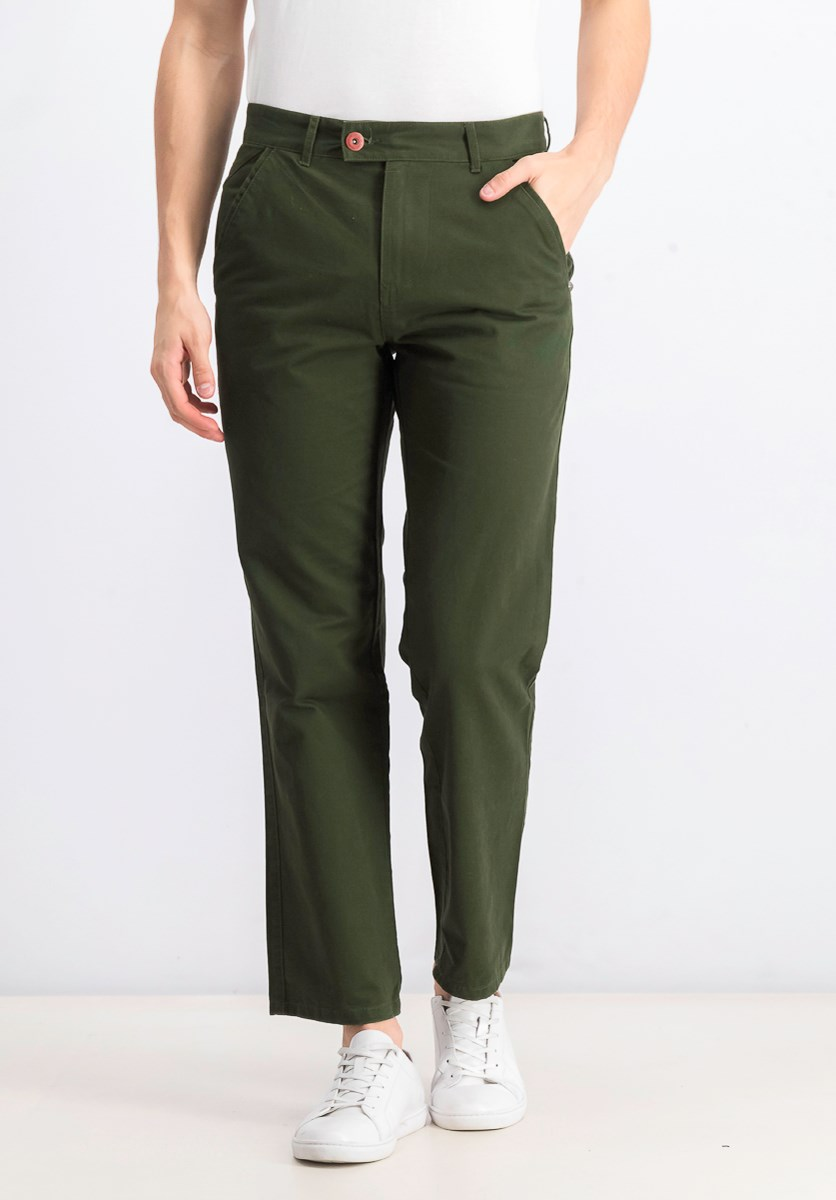 Men's Loose Fitting Chino Pants, Olive