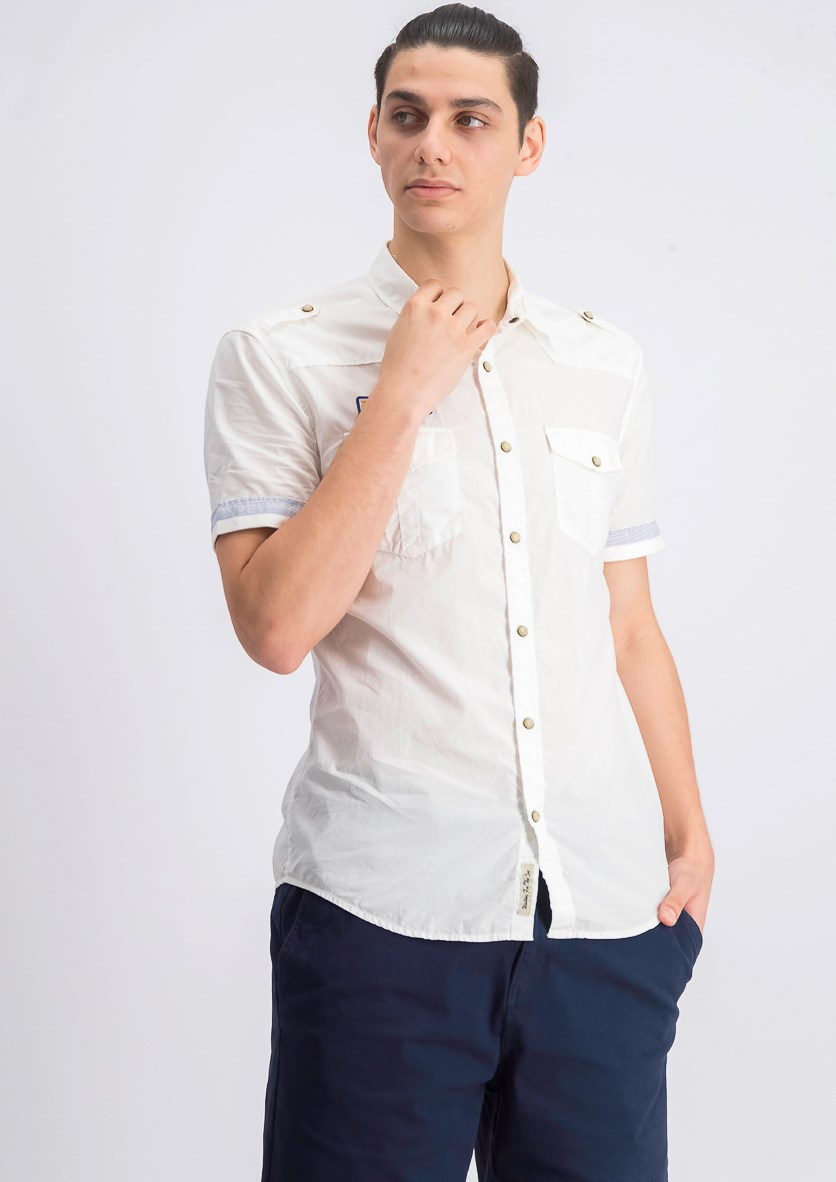 Mens Wave Solid Shirt, Off White