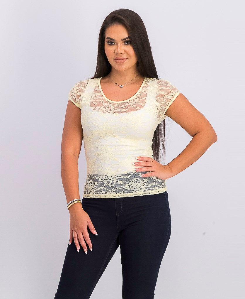 Women's Lace Top, Pale Yellow