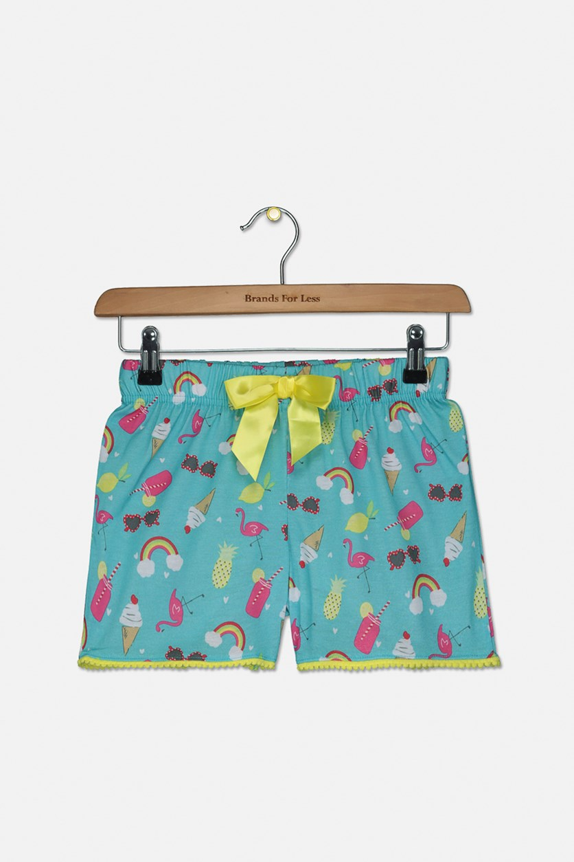 Girl's Printed Pajama Shorts, Turquoise Combo
