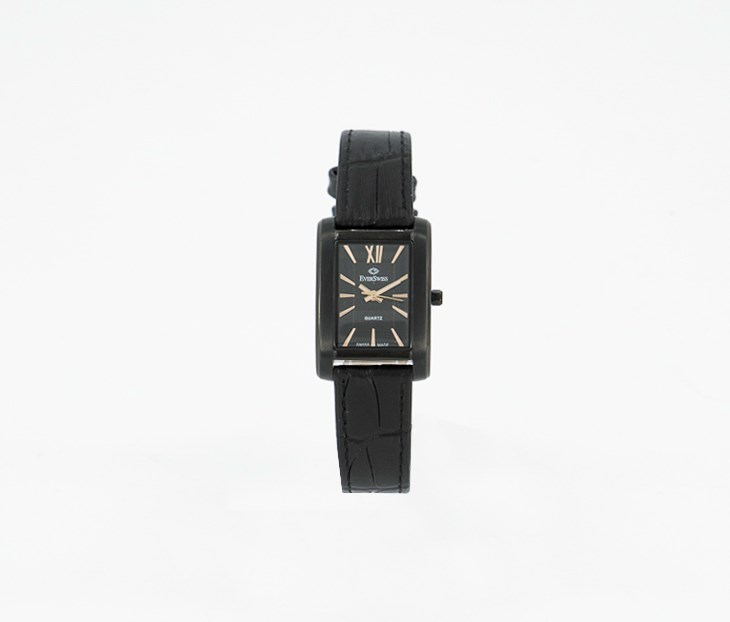 Women's Rectangle Leather Watch, Black