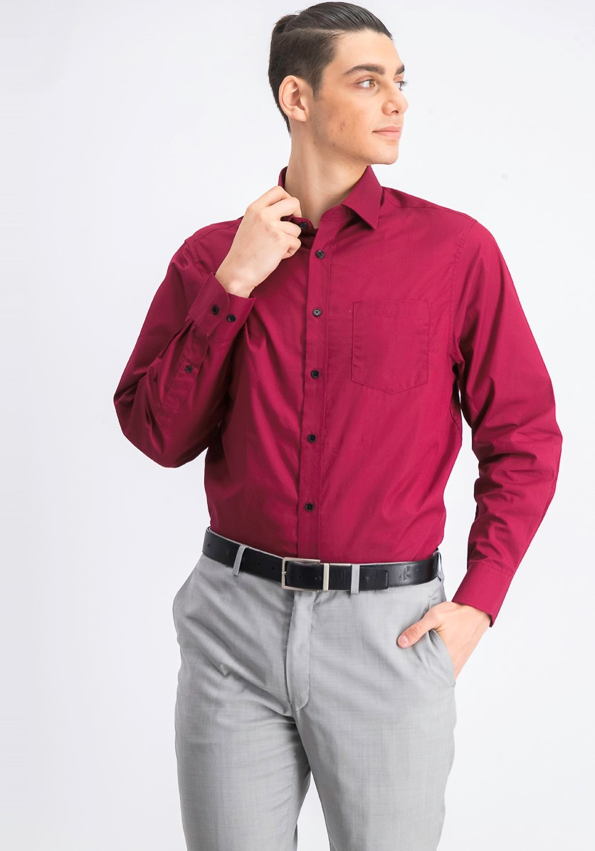 Men's Classic Fit Dress Shirt, Burgundy