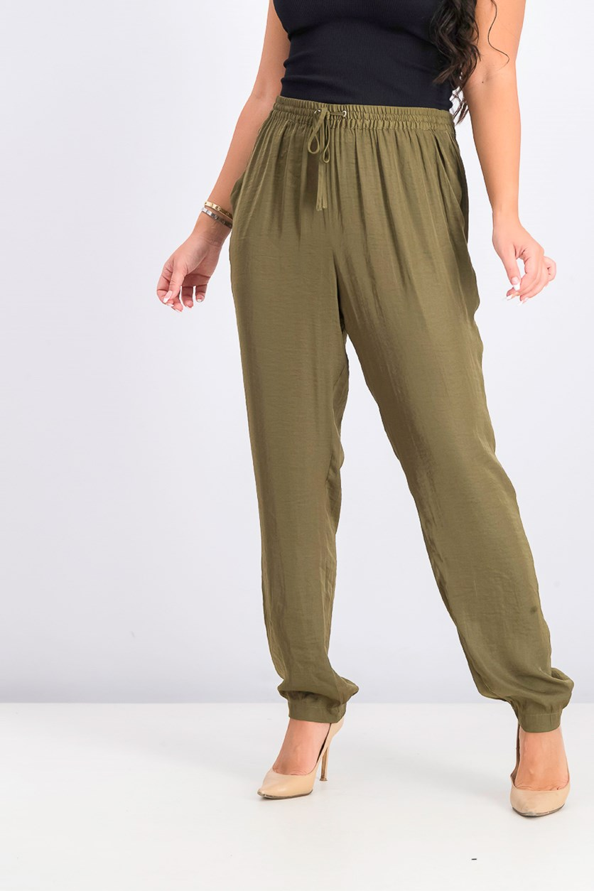 Women's Drawstring Rumple Pull-on Pants, Olive