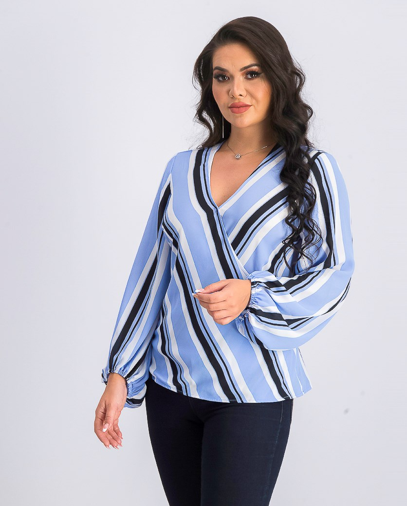 Women's Striped V-Neck Wrap Top, Yacht Stripe