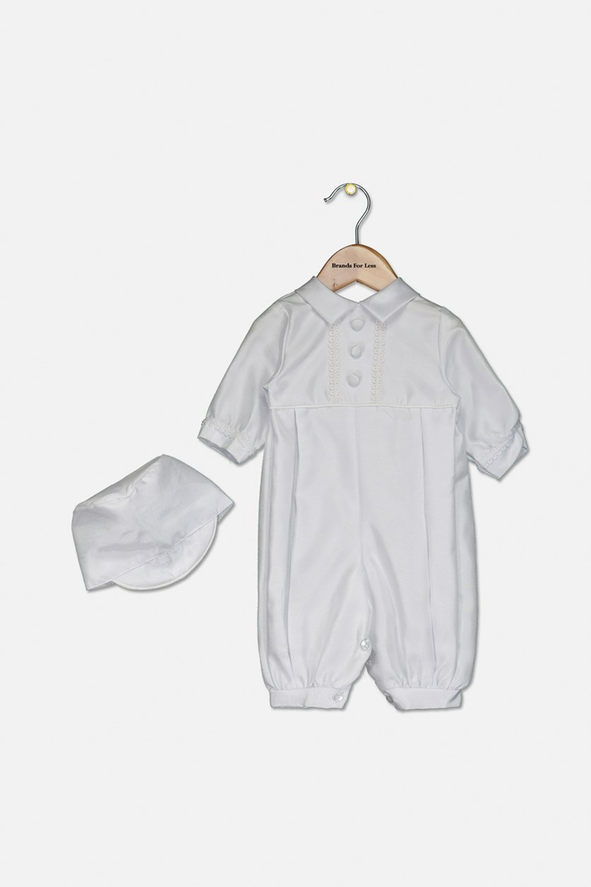 Baby Boys Full Length Christening Romper with Matching Hat, White