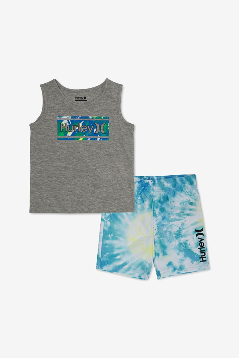 Toddler Boys 2-Pc. Graphic Tank & Tie-Dye Boardshort Set, Blue/Grey