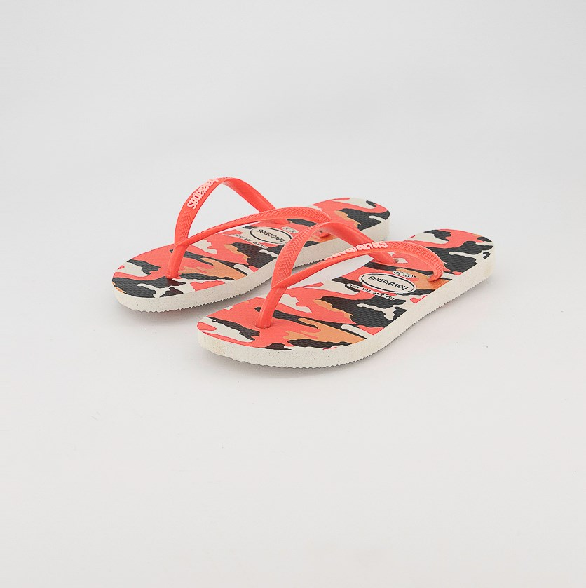 Girl's Slim Camouflage Slipper, White/Coral