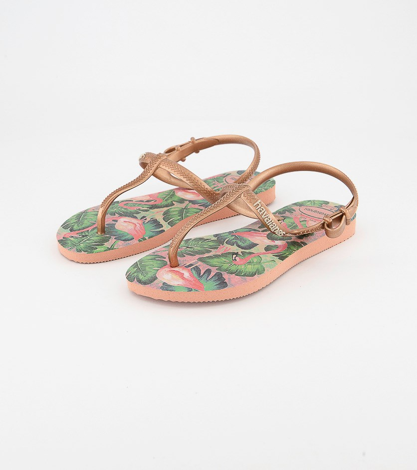 Kids Girls Freedom Slim Print Sandals, Rose Nude