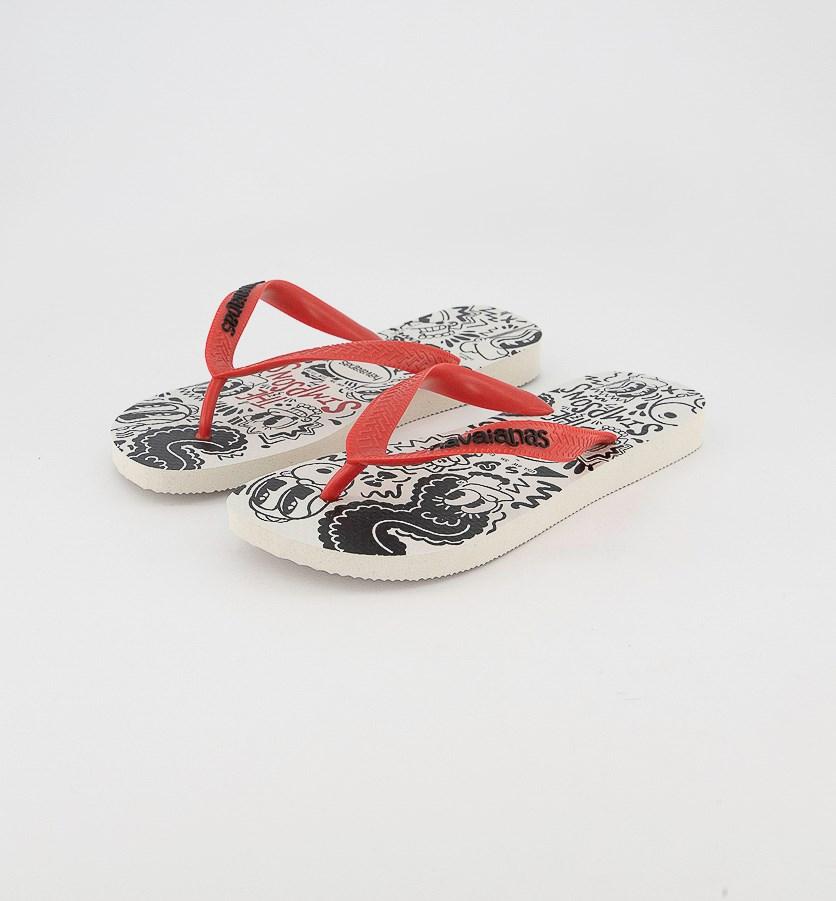 Unisex Simpsons Flip Flop, White/Red Ruby