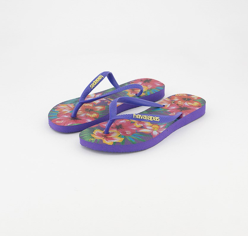 Kids Girl's  Slim Hibisco Slippers, Purple