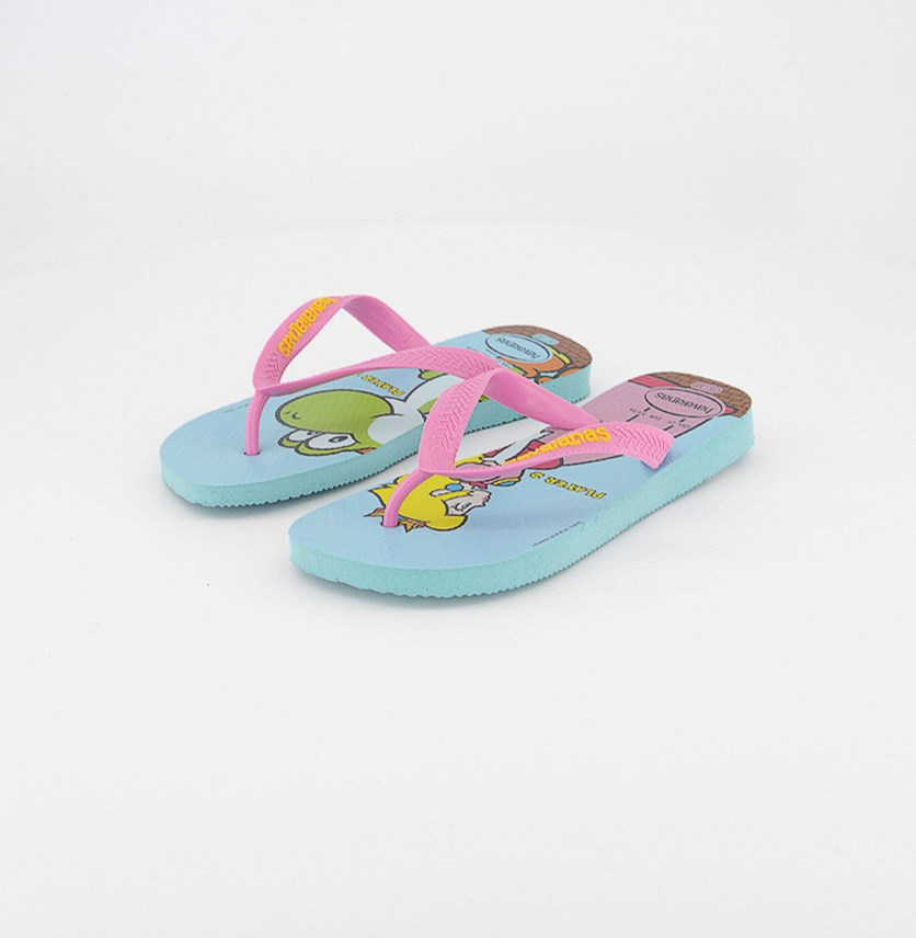 Kids Girls Mario Bros Flip Flops, Ice Blue