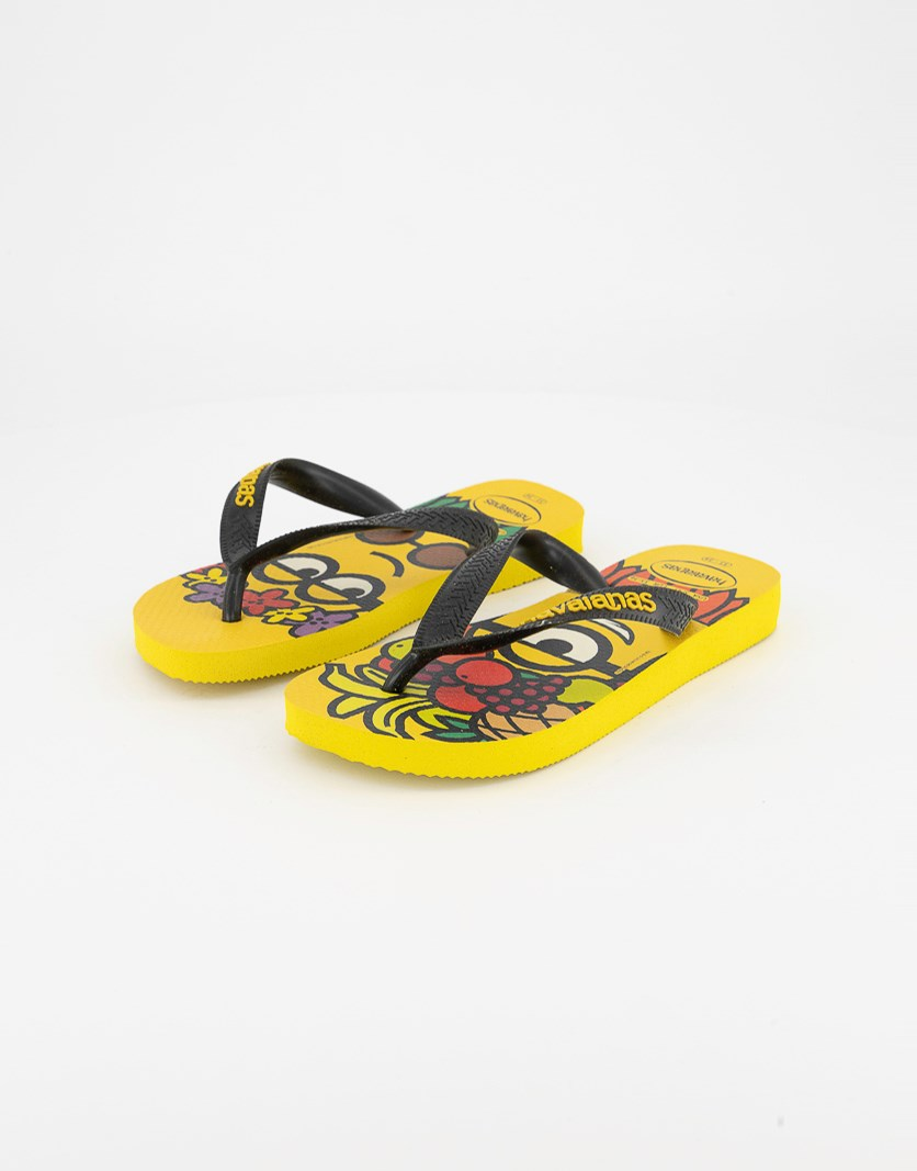Kids Boys Round Toe Flip Flops, Yellow/Black