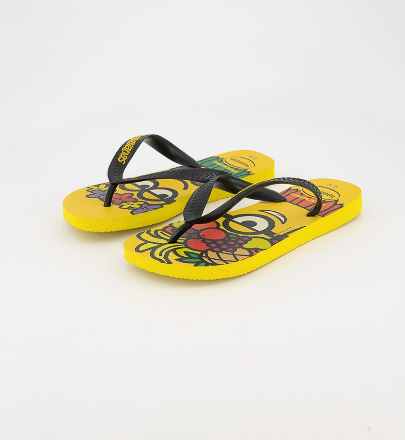 Men's Style 2 Cartoon Printed Round Toe Flip Flops, Yellow Black