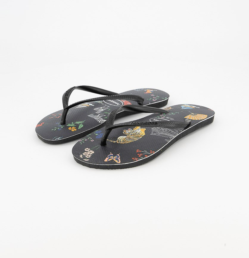 Women's Slim Flip Flops, Black/Black/Chine
