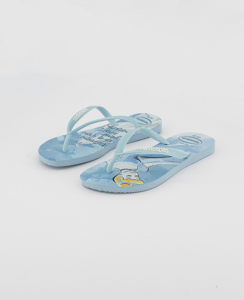 Kids Girls Slim Princess Slipper, Aqua Blue