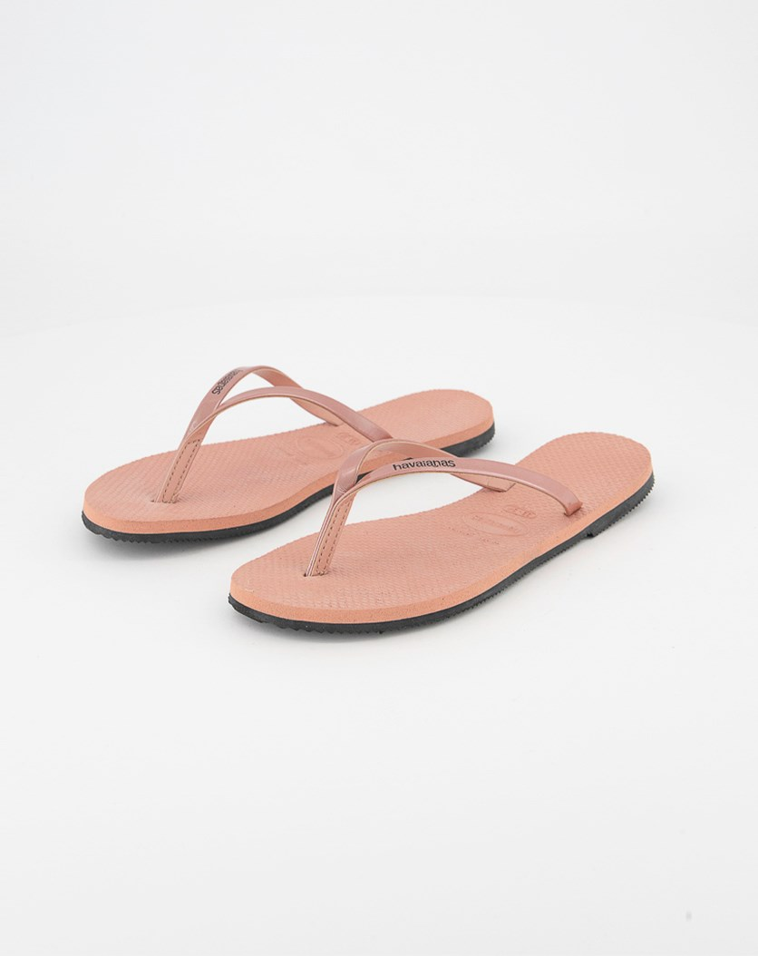 Kids Girls Metallic Strap Slipper, Rose Nude