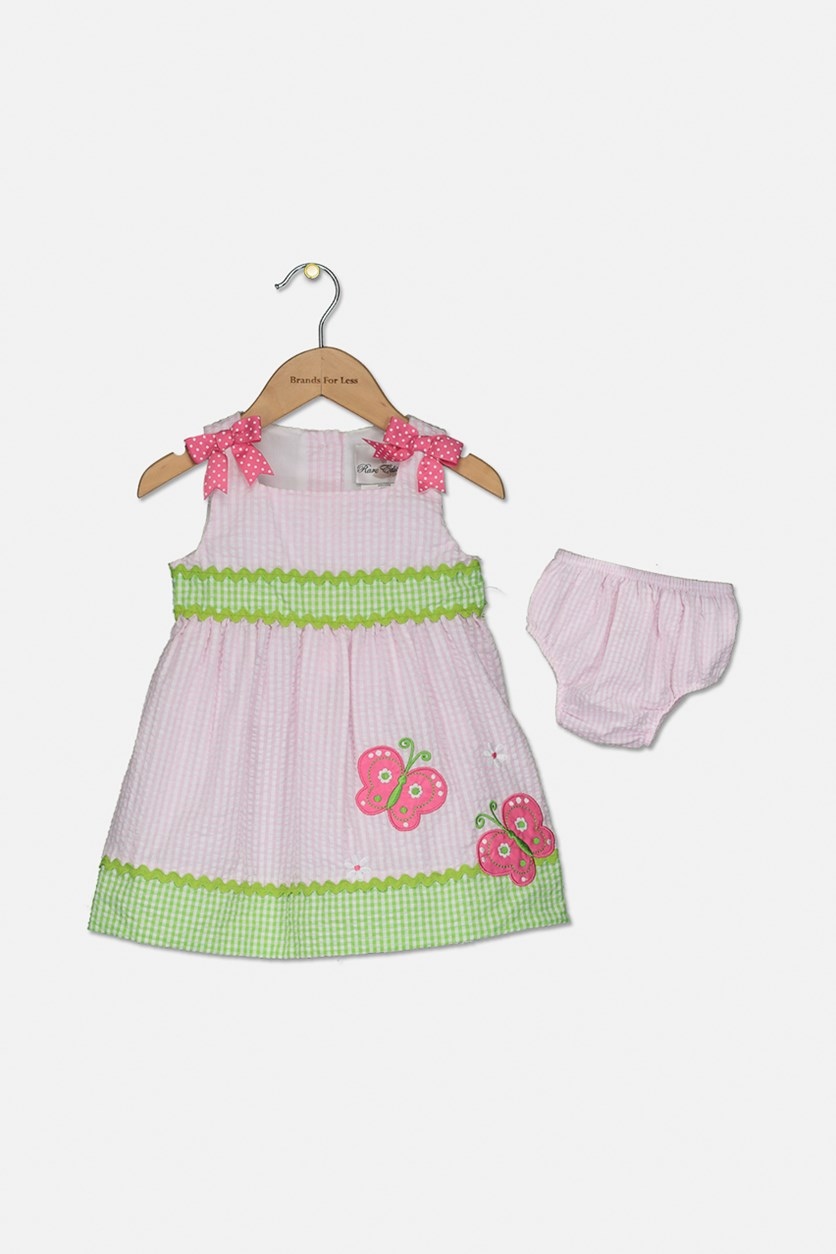 Baby Girls Gingham Butterfly Dress, Pink Combo