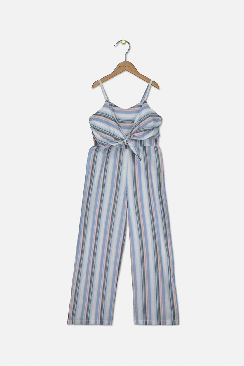 Big Girls Striped Jumpsuit, Blue