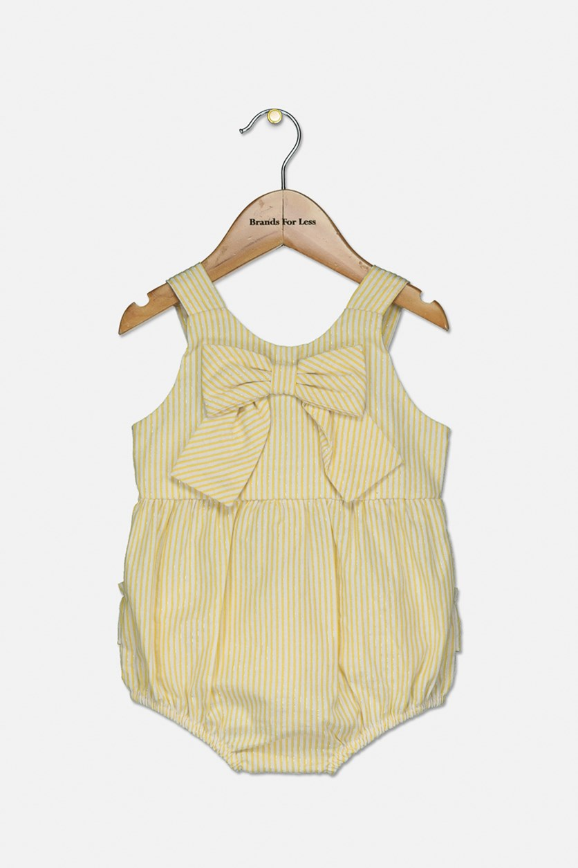 Baby Girls Striped Bow Bubble Bodysuit, Yellow