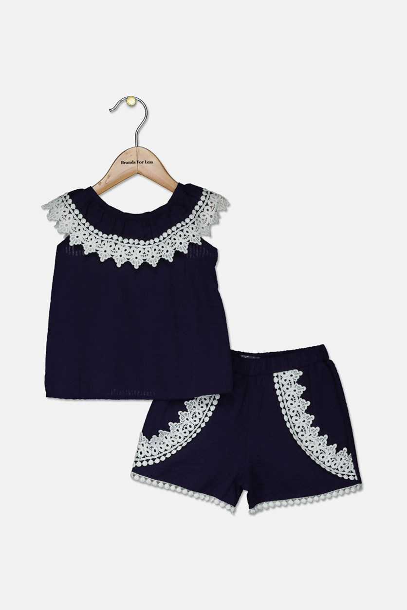 Baby Girls 2-Pc. Lace Embellished Top & Shorts Set, Navy