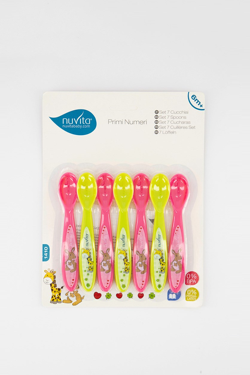 7 Set Of Spoons, Pink/Lime