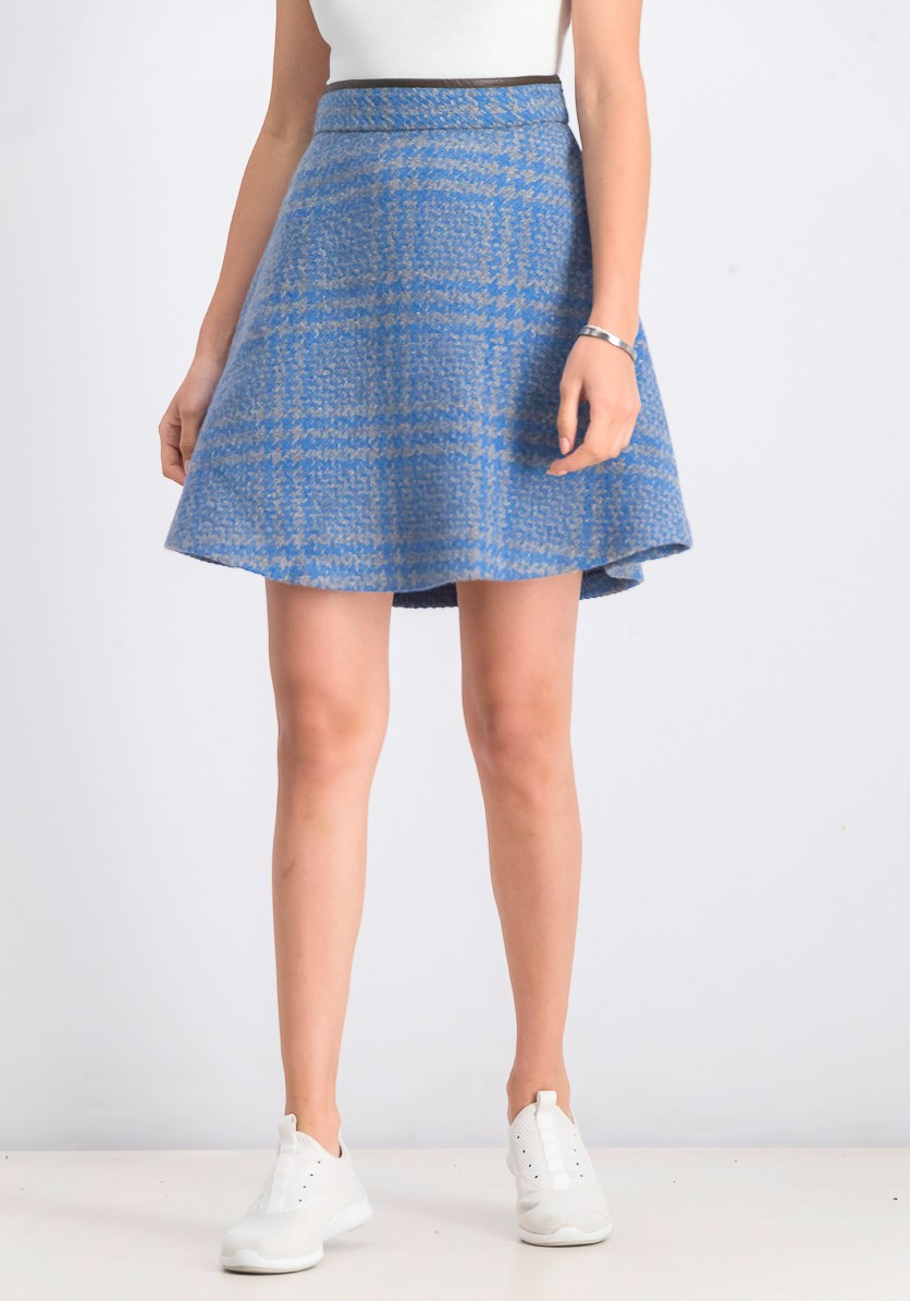 Women's Textured Mini Skirt, Blue/Grey